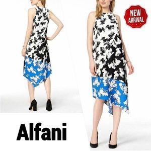 Alfani White Black Blue Floral Asymmetric Dress 8